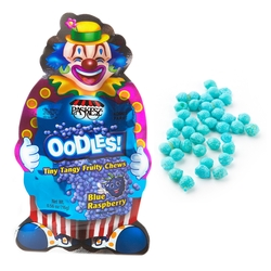 Oodles Purim Clown Tiny Tangy Blue Raspberry Fruity Chews Bags - 24CT Box