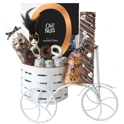 Whimsical White Metal Tricycle Purim Gift Basket Mishloach Manos