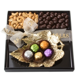 Purim Gold Leaf Dish Gift Basket Mishloach Manos