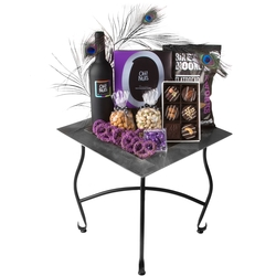 NURTURING - Metal Silver Magazine Table Gift Basket Mishloach Manos