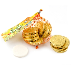 Hanukkah Pineapple Taffy Gelt Mesh Bags Gold Coins - 22CT Box