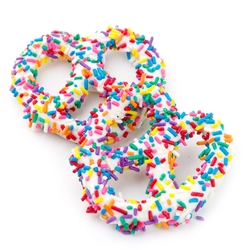 White Chocolate Covered Pretzels with Rainbow Sprinkles - 10CT Box