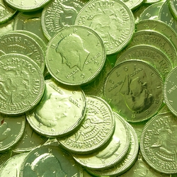 Kiwi Green Chocolate Coins - 1 LB Bag