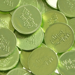 'Welcome Baby' Leaf Green Chocolate Coins - 1 LB Bag
