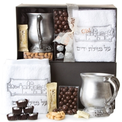 Passover Jerusalem Wash Cup and Towel Set - Platinum