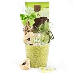 Purim Green Snake Skin Tin Gift Basket