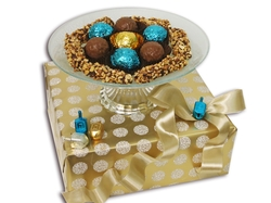 Hanukkah Glass Cake Stand Gift Basket - Israel Only