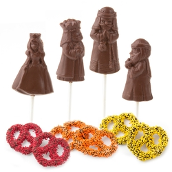 Purim Ahasuerus,Mordecai,Haman&Esther Chocolate Lollipops Gift Box