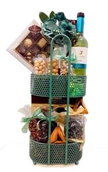 Purim 2 Tier Iron Stand Gift Basket - Israel Only