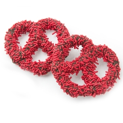 Chocolate Covered Pretzels with Red Sprinkles - 10CT Box