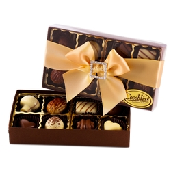 Premium Belgium Truffles Clear Orange Box - 8 PC Box