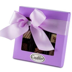 Premium Belgium Truffles Square Purple Box - 9 PC Box