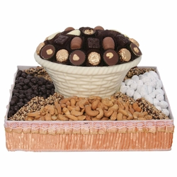 Square White Chocolate & Nut Gift Basket