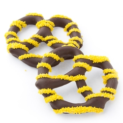 Chocolate Covered Pretzels with Yellow Nonpareils - 10CT Box