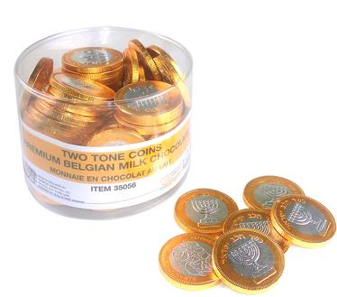 Nut-Free Two-Tone Milk Chocolate Coins Tub - 70 Count