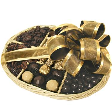 Chocolate & Nuts Wicker Gift Tray