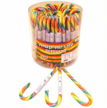 Handmade Rainbow Swirl Candy Canes - 40CT Tub