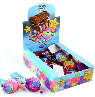 Nut-Free Multi-Color Milk Chocolate Coin Bags - 24CT Box