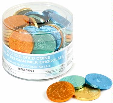Nut-Free Multicolor Milk Chocolate Coins Tub - 70 Count