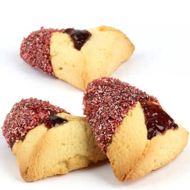 Ruby Red Sprinkled Chocolate Dipped Hamantashen - 8CT Box