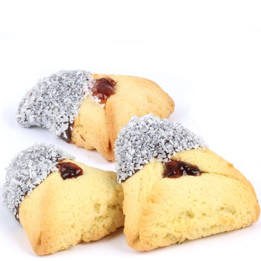 Pearl White Sprinkled Chocolate Dipped Hamantashen - 8CT Box