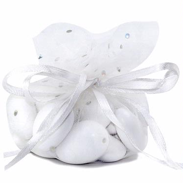 White Dotted Organza Bags - 12-Pack