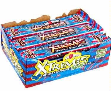 AirHeads Xtremes Blue Raspberry Sour Belts - 18CT Box