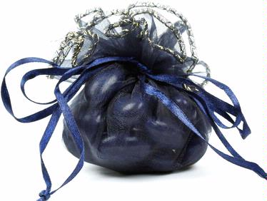 Navy Blue Organza Bag