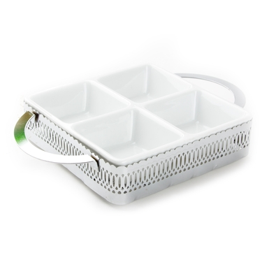 4-Section Ceramic Silver Gift Tray