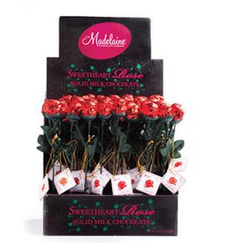 Red Milk Chocolate Sweetheart Roses - 48 Display Pack