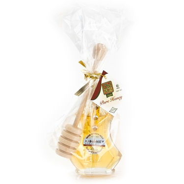 Mini Floral Fantasy Honey Bottle + Honey Dipper Favor Bag