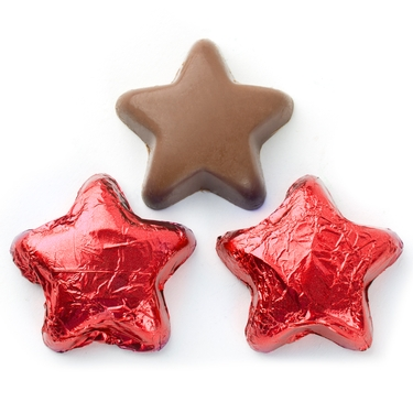 Foiled Chocolate Stars red