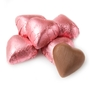 Bright Pink Foiled Milk Chocolate Hearts shaped