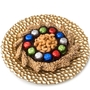 Purim Pebbled Glass Charger Gift Basket