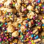 Chocolate Drizzled Caramel Popcorn with Rainbow Chips