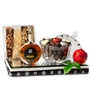 Elegant Crystal Honey Dish Rosh Hashanah Gift Basket