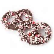 Belgian Chocolate Covered Pretzels with Crushed Peppermint - 10CT Box