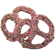 Chocolate Covered Pretzels with Pink Nonpareils - 10CT