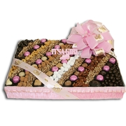 Baby Girl Chocolate & Nut Square Gift Lineup - Large
