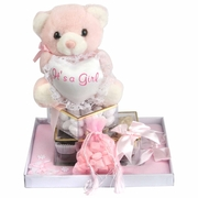 Baby Girl Picture Frame & Teddy Bear Gift