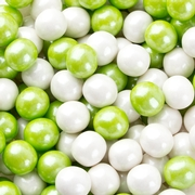 White & Lime Green Shimmer Pearl Mini Gumballs