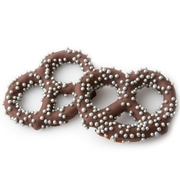 Belgian Dark Chocolate Covered Pretzels with Silver Pearls