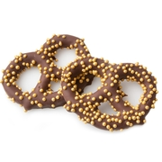 Belgian Dark Chocolate Covered Pretzels with Gold Pearls