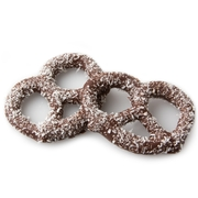 Belgian Dark Chocolate Covered Pretzels with Coconut