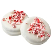 Crushed Peppermint White Chocolate Coated Sandwich Cookies