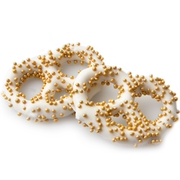 White Chocolate Covered Pretzels with Gold Pearls