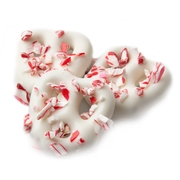 White Chocolate Covered Mini Pretzels with Crushed Peppermint