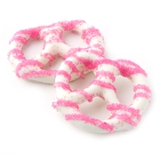 White Chocolate Covered Pretzels with Pink Sugar Crystals