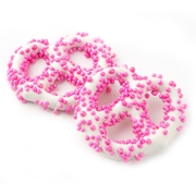 White Chocolate Covered Pretzels with Pink Pearls