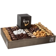 Bar Mitzvah wood tray gift basket